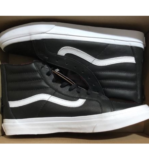 afee16584b Vans Sk8 Hi Slim Plaid Flannel Black White Shoes